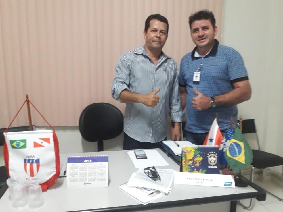 Nerivaldo Cesar e Sandeclei Monte, presidentes de São Francisco e Tapajós, querem disputar primeira final no domingo — Foto: Elailson Gomes (Catola)