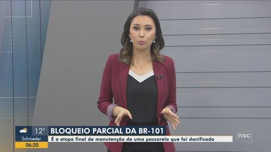 BR-101 em Itajaí terá bloqueio parcial na noite desta quarta-feira para obras em passarela