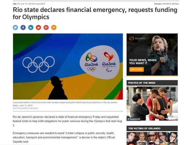 Agência de notícias Reuters destacou decreto de calamidade pública em função da crise financeira no Rio de Janeiro (Foto: Reprodução/Reuters.com)
