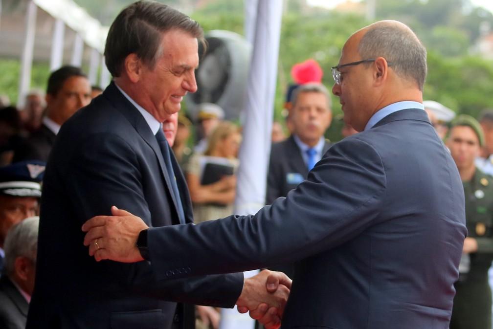 Arquivo: Jair Bolsonaro e Wilson Witzel na Comemoração do Dia da Vitória — Foto: Philippe Lima/Divulgação/Governo do Estado