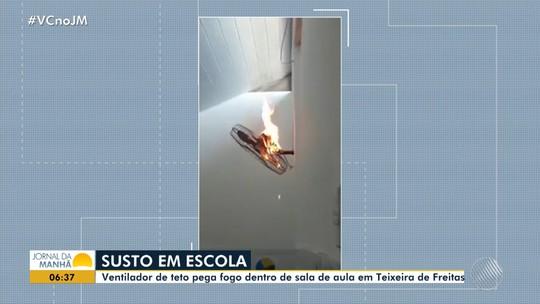 VÍDEO: Ventilador pega fogo dentro de sala de aula em escola do sul da Bahia