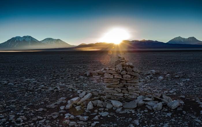 Calendário inca localizado no Atacama, no Chile (Foto: Museu Chileno de Arte Precolombiano)