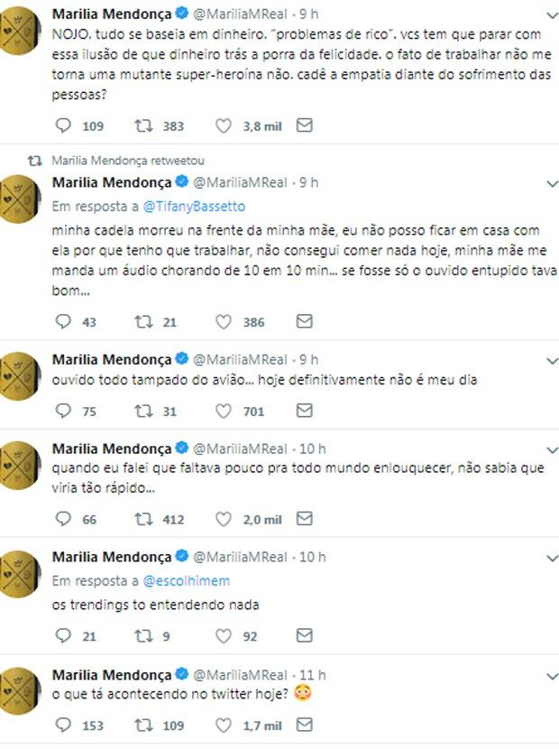 Marília Mendonça desabafa após morte de pet  (Foto: Reprodução/Twitter)