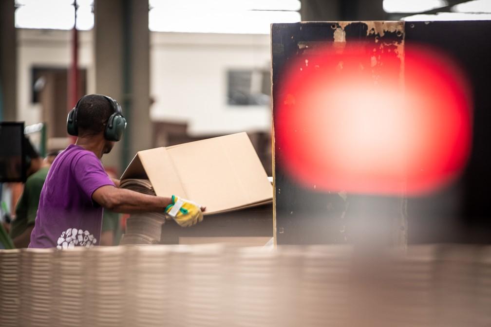 Indústria brasileira encolhe, afetada por baixa competitividade e demanda ainda fraca; na foto, fábrica de papelão ondulado para embalagens no interior de São Paulo — Foto: Fabio Tito/G1