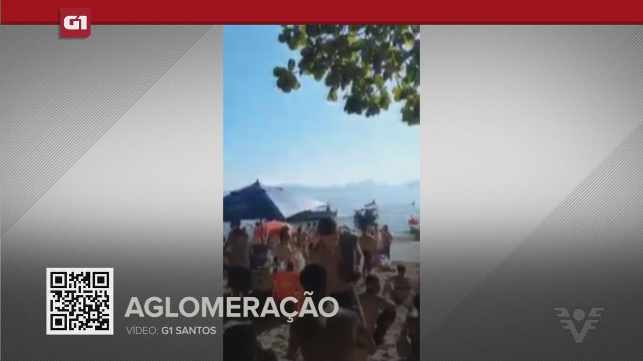 G1 em 1 Minuto - Santos: Banhistas sem máscaras se aglomeram em praia deserta do litoral