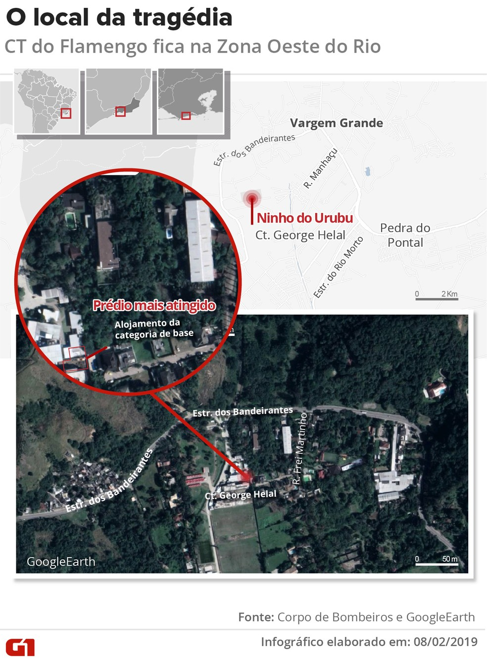Mapa mostra o CT do Flamengo e o prédio atingido — Foto: Infografia: Wagner Magalhães/G1
