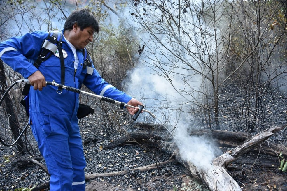 Evo Morales Pours Water Into Burnt Bolivian Forest, August 2019 - Photo: Bolivian Disclosure / Reuters