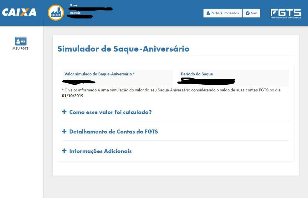 Simulador do valor a ser recebido no saque-aniversário do FGTS, no site da Caixa — Foto: Reprodução