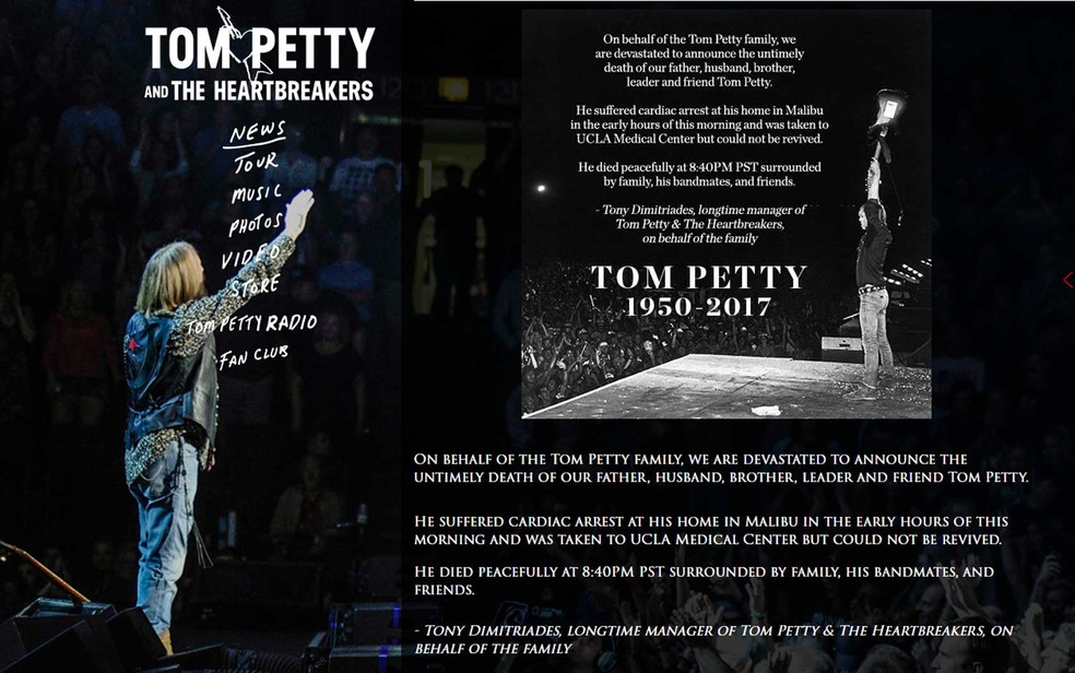 Nota da morte de Tom Petty no site oficial do cantor (Foto: Tom Petty / Site oficial)