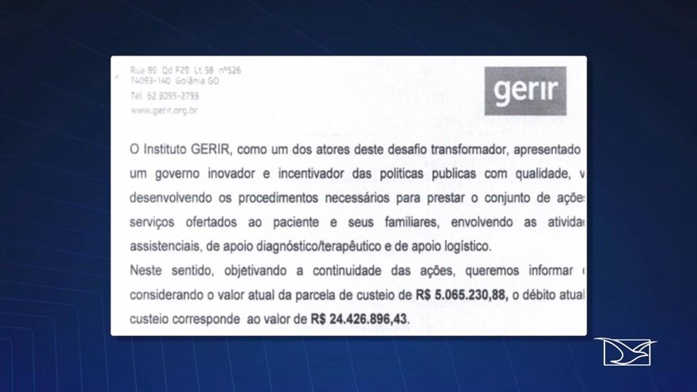 Documento aponta que o Instituto Gerir já teria apontado à Secretaria de Estado da Saúde um débito que já somava cerca de 24 milhões e 500 mil reais. (Foto: Reprodução/TV Mirante)