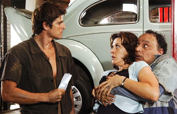 Pascoal (Reynaldo Gianecchini), Samanta (Cláudia Raia) e Jamanta (Cacá Carvalho) garantiram boas risadas ao público (Foto: Divulgação/TV Globo)