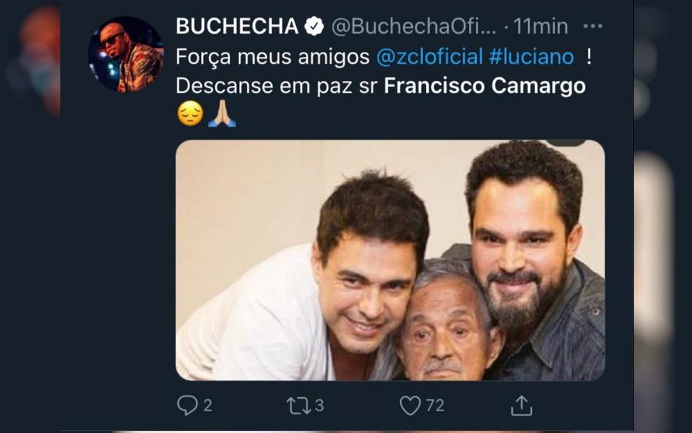 Cantor Buchecha lamenta, nas redes sociais, morte de Francisco Camargo — Foto: Reprodução/Twitter