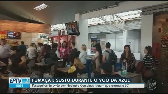 Avião da Azul com destino a Campinas volta a aeroporto de SC após decolar; passageiro relata fumaça a bordo