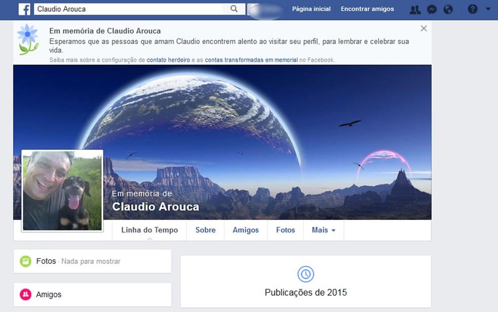 Página do Facebook em memória de Claudio Arouca (Foto: Reprodução/Facebook)