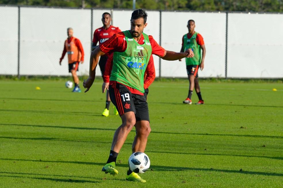 Henrique Dourado durante treino do Flamengo nos EUA — Foto: Alexandre Vidal/Flamengo