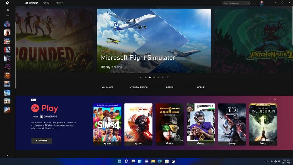 Xbox Game Pass no Windows 11 — Foto: Divulgação/Microsoft