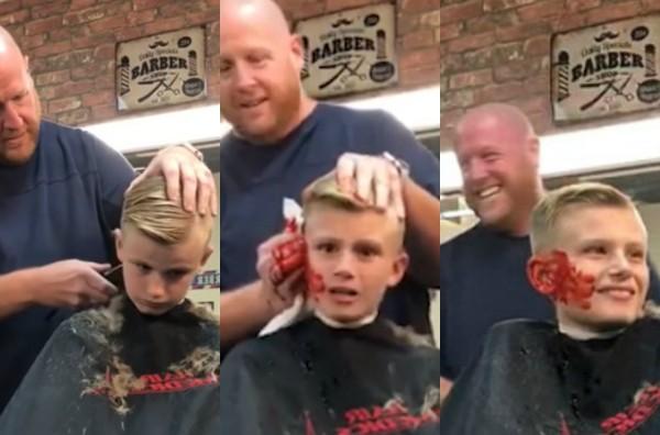 Barbeiro finge arrancar orelha de garoto que colocou barata falsa em sua barbearia  (Foto: Reprodução Youtube)