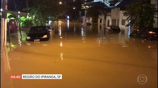 Ruas de bairro do Ipiranga em SP estão debaixo d'água