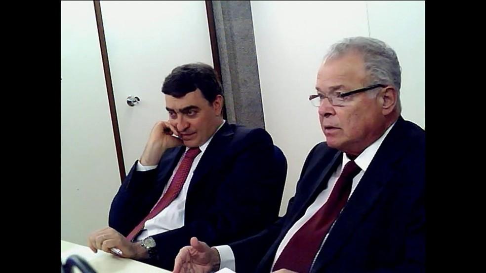 O empresário Emilio Odebrecht (dir) presta depoimento da delação premiada à PGR â?? Foto: Reprodução, PGR