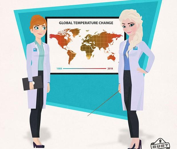 Anna e Elsa, de Frozen: cientistas especializadas em aquecimento global (Foto: Reprodução / Matt Burt)
