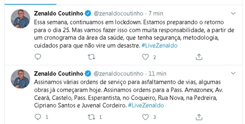 Zenaldo Coutinho anunciou nas redes sociais a remotada do comércio em Belém  — Foto: Reprodução Twitter