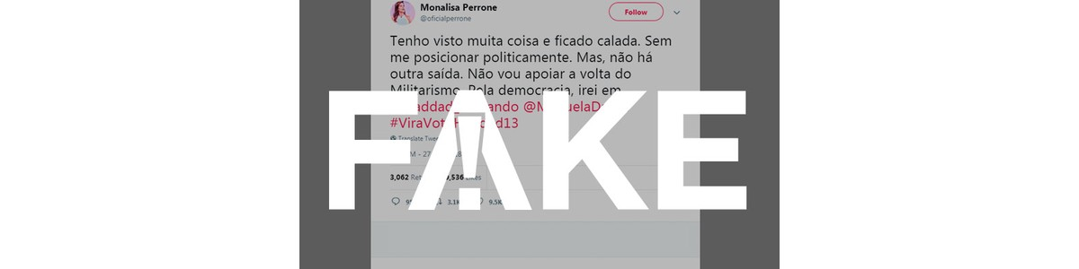 Tem Na Web - É FAKE que apresentadora Monalisa Perrone declarou voto em Fernando Haddad