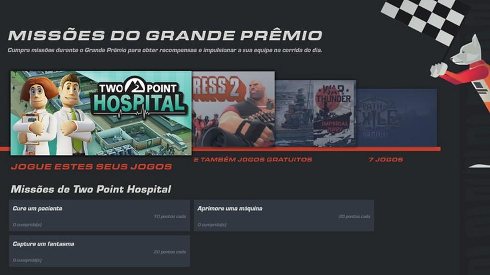 A página de missões do Grande Prêmio do Steam de 2019 indica as tarefas que você precisa realizar — Foto: Reprodução/Rafael Monteiro