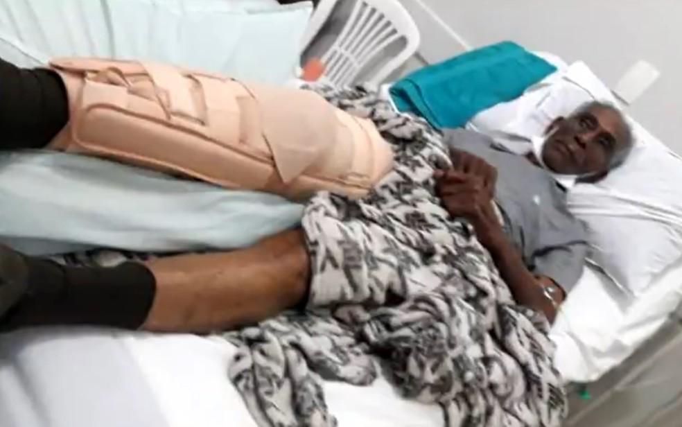 Lázaro Francisco se recupera da agressão que sofreu por casal que o assaltou — Foto: Reprodução/TV Anhanguera