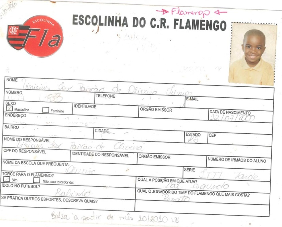 Ficha Vinicius Junior na escolinha do Flamengo — Foto: Arquivo Pessoal