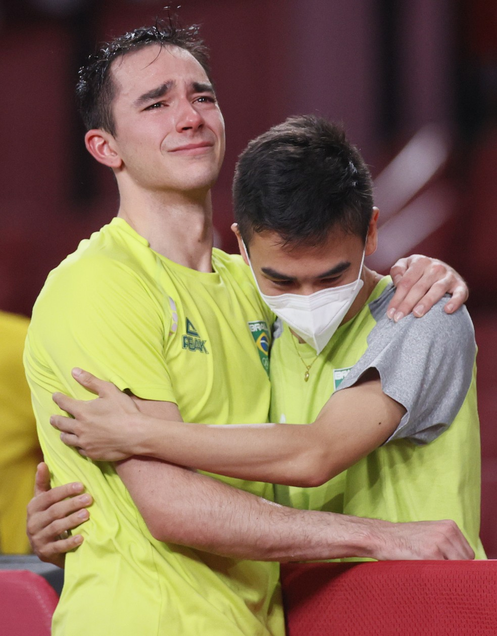 Hugo Calderano chora após eliminação nas Olimpíadas de Tóquio — Foto: Steph Chambers/Getty Images