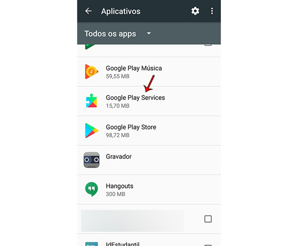 How to disable Google Play Services by accessing the list of mobile apps Photo: Marcela Franco / TechTudo