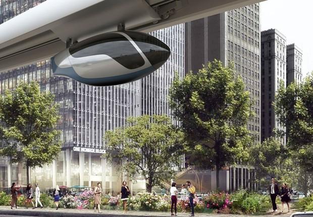 Imagem conceito de como será o transporte da skyTran (Foto: Divulgação/skyTran)
