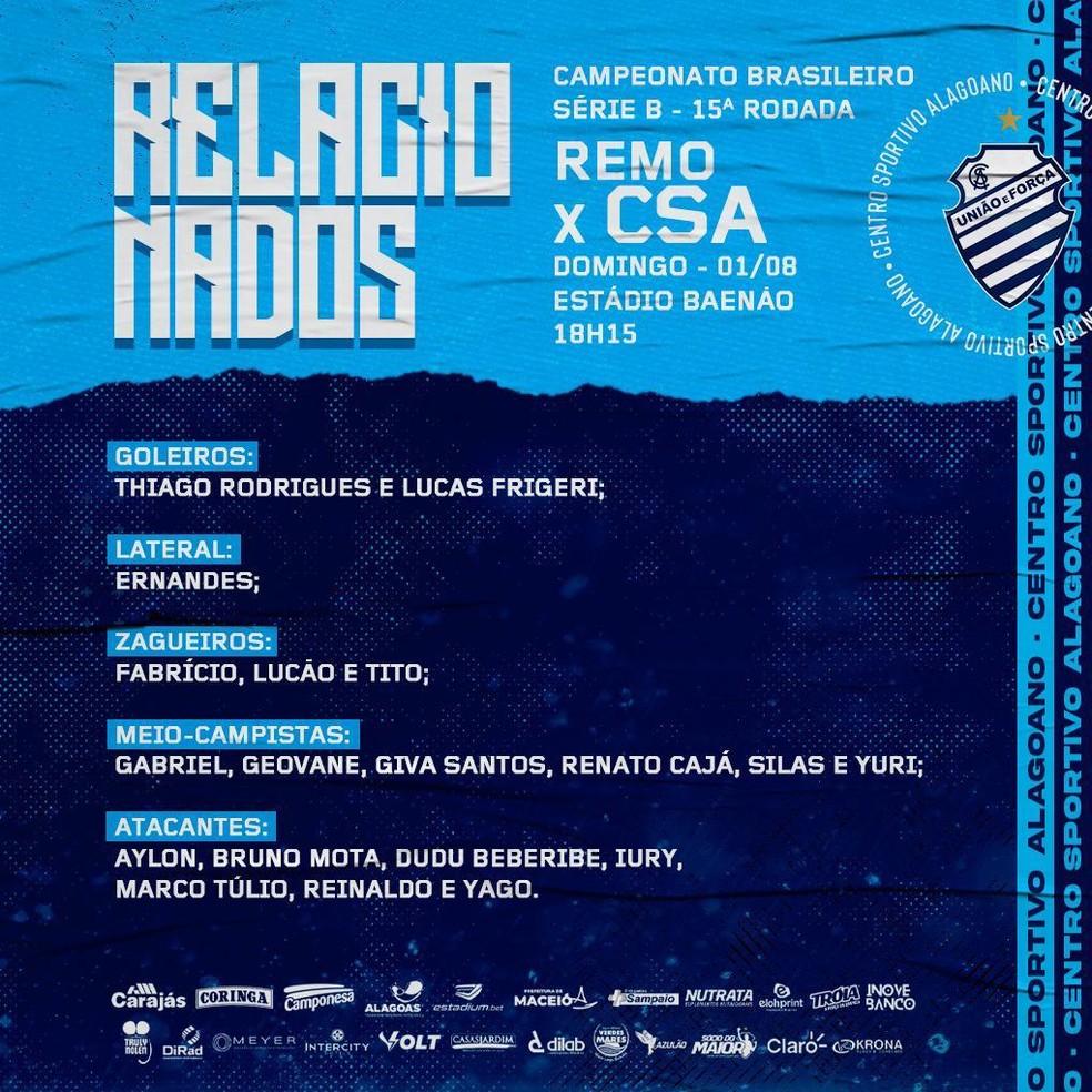 Relacionados do CSA para enfrentar o Remo — Foto: CSA