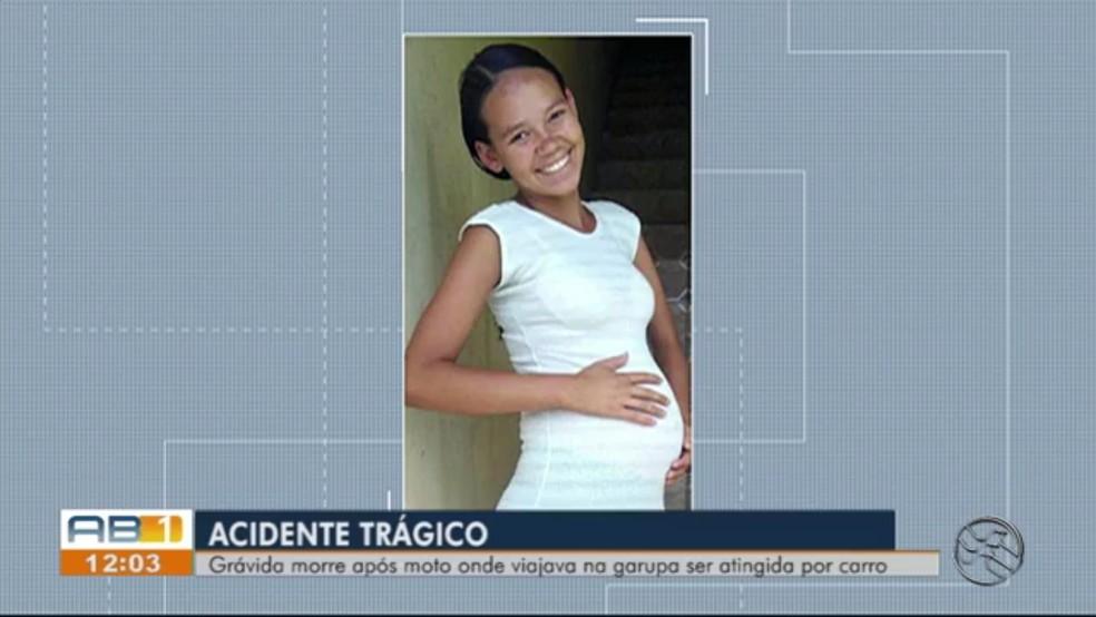 Amanda de Assis estava grávida de 8 meses e morreu após sofrer um acidente, em Caruaru — Foto: TV Asa Branca/Reprodução