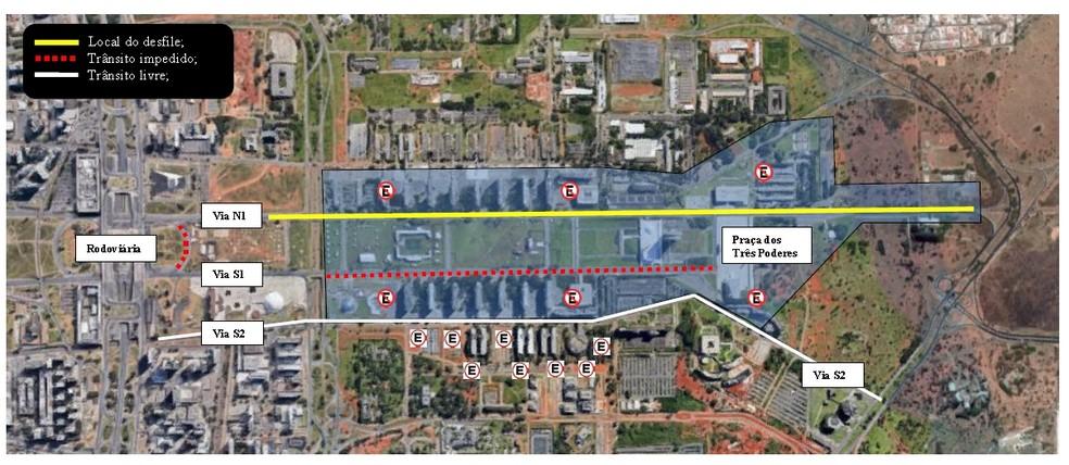 Mapa mostra local do desfile e interdições no trânsito em Brasília, durante desfile de 7 de Seetembro — Foto: Detran-DF / Divulgação