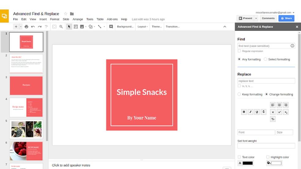 Plugin leva localizar a substituir para o Google Slides — Foto: Reprodução/Chrome Web Store
