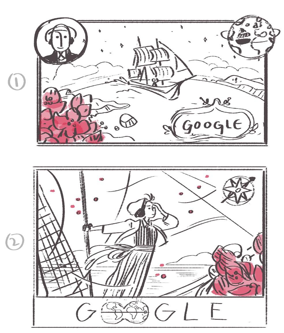Esboços do Doodle de Jeanne Baret, feitos pela designer Sophie Diao — Foto: Reprodução/Google