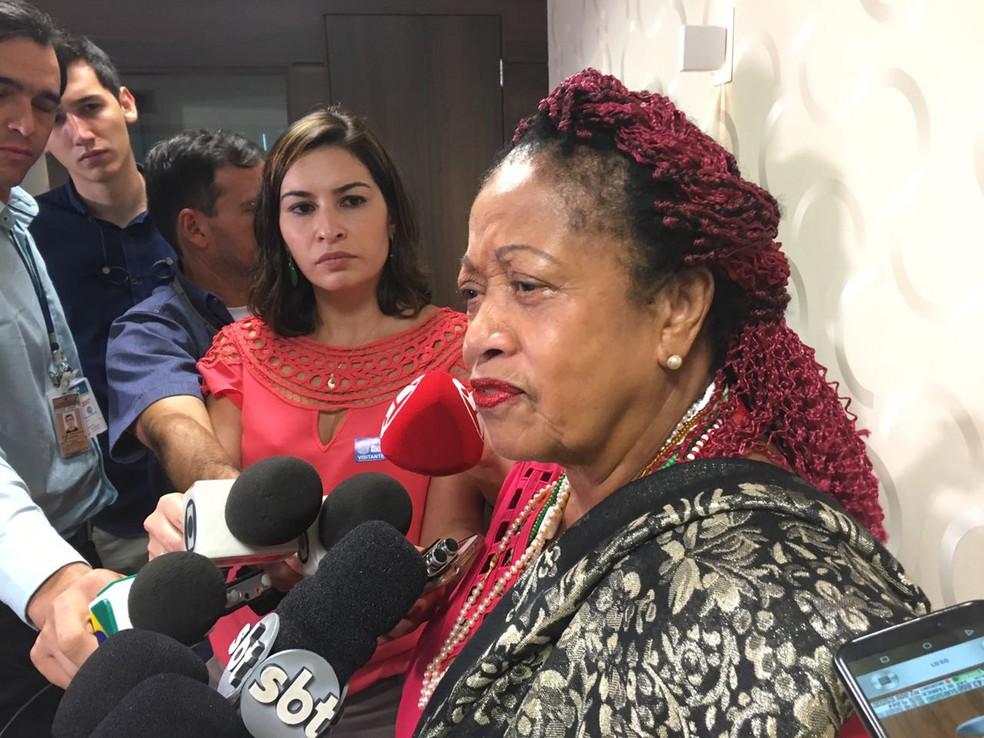 A ministra Luislinda Valois, durante entrevista em Brasília no mês de março de 2017 (Foto: Tainá Sigmaringa/G1)