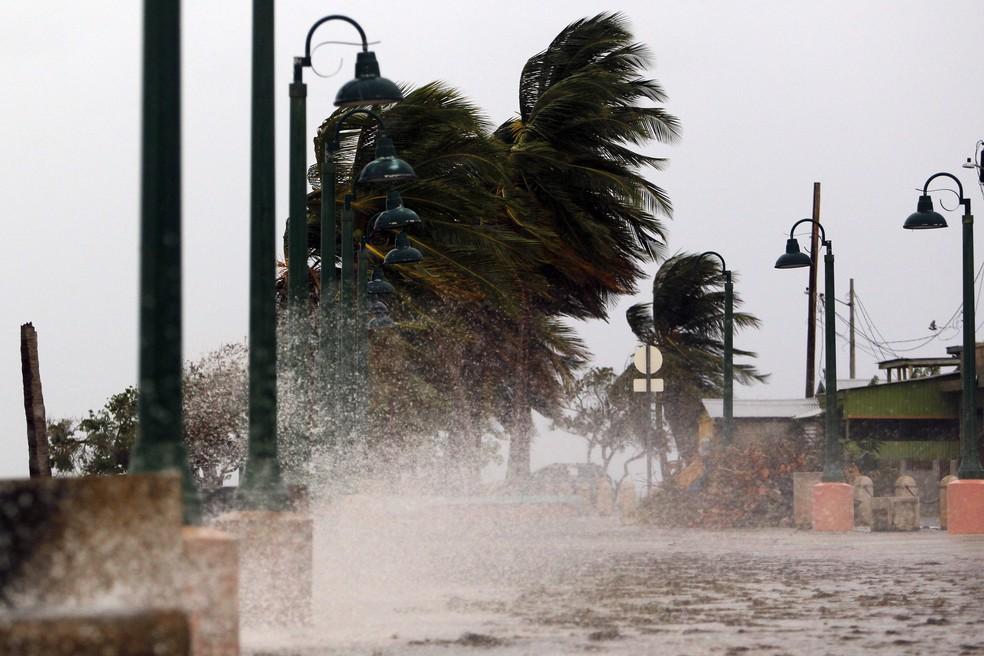 Ventos fortes castigam a cidade costeira de Fajardo, em Porto Rico (Foto: Ricardo Arduengo/ AFP)