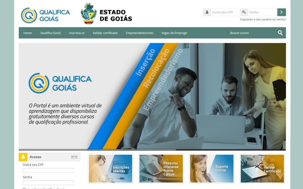 Inscrições são gratuitas e devem ser feitas no site do Programa Qualifica Goiás — Foto: Reprodução