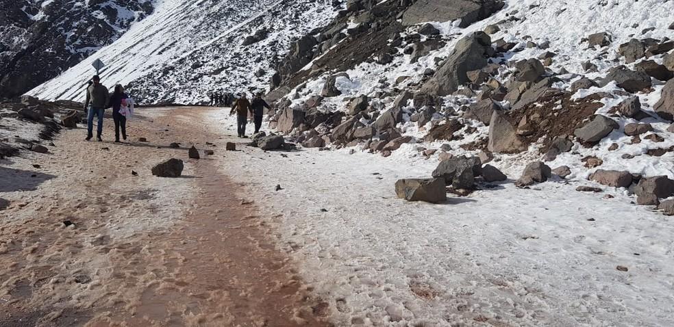 Local onde ocorreu o deslizamento que matou duas crianças brasileiras no Chile — Foto: Arquivo pessoal