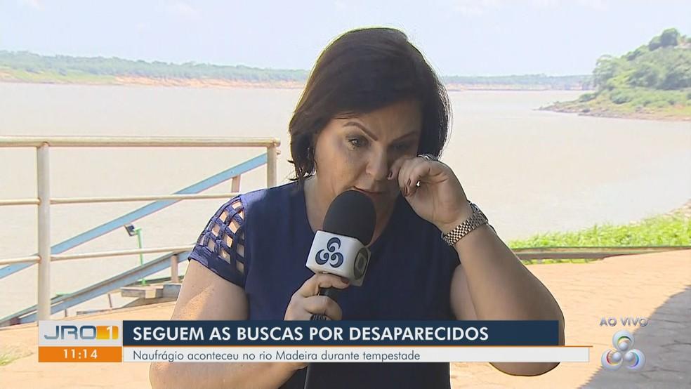 Repórter Maríndia Moura se emocionou ao falar do amigo no JRO1.  — Foto: Rede Amazônica/Reprodução