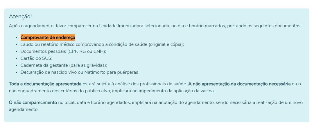 Comprovante de endereço passa a ser um requisito para vacinação contra o coronavírus em Palmas