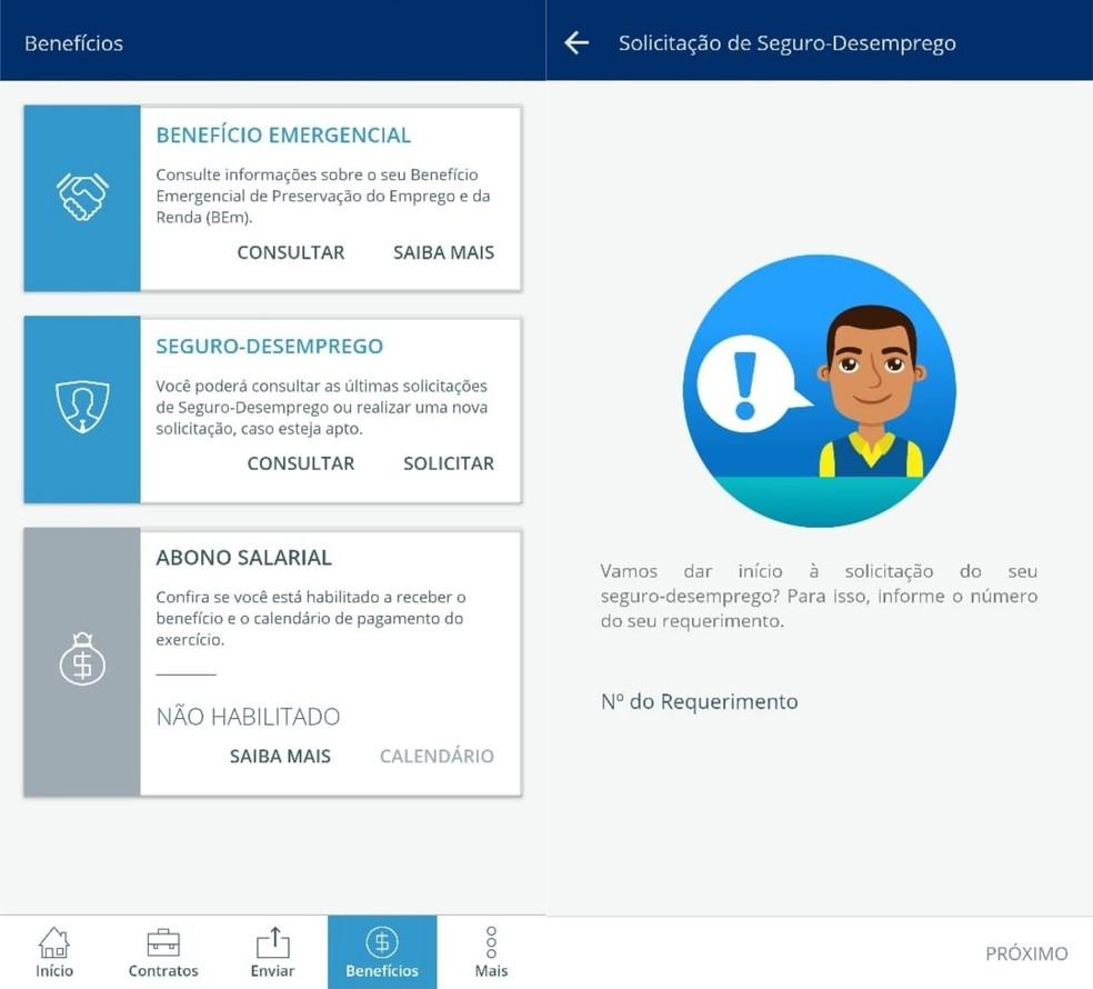 É possível solicitar e consultar últimas solicitações do Seguro-Desemprego pelo app CTPS Digital — Foto: Reprodução/Clara Fabro