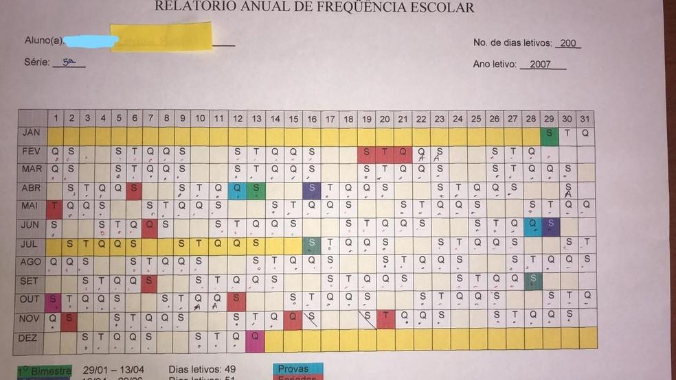Cronograma anual mostra os dias letivos cumpridos por Luana no 'homeschooling' — Foto: Arquivo pessoal