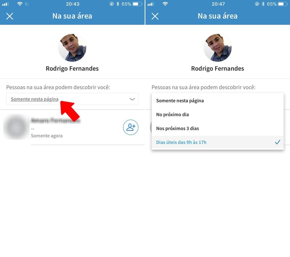 Escolha o horário em que poderá ser encontrado no LinkedIn por meio do Bluetooth — Foto: Reprodução/Rodrigo Fernandes