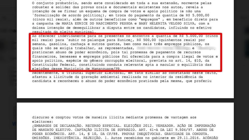 Trecho da decisão diz que investigadas tentaram comprar votos de vereadores da oposição em troca de dinheiro, cachaça e empregos (Foto: Reprodução/TRE-PB)