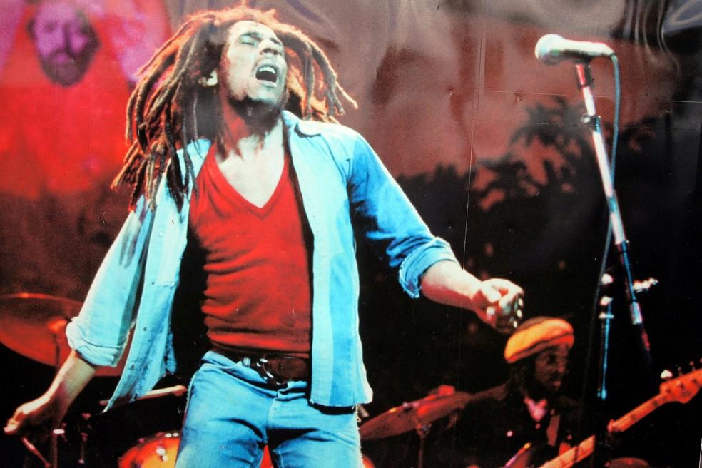Imagem de Bob Marley no 'Museu Bob Marley', em Kingston, Jamaica — Foto: Jorge Reyes/Mexsport/Mexsport via AFP/Arquivo