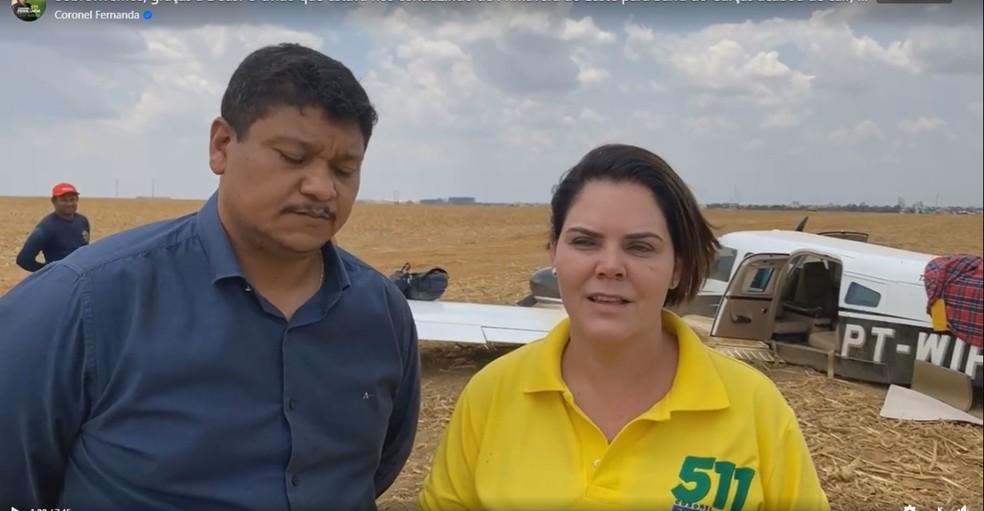 Coronel Fernanda sofreu acidente de avião em Primavera do Leste, mas não se feriu — Foto: Facebook