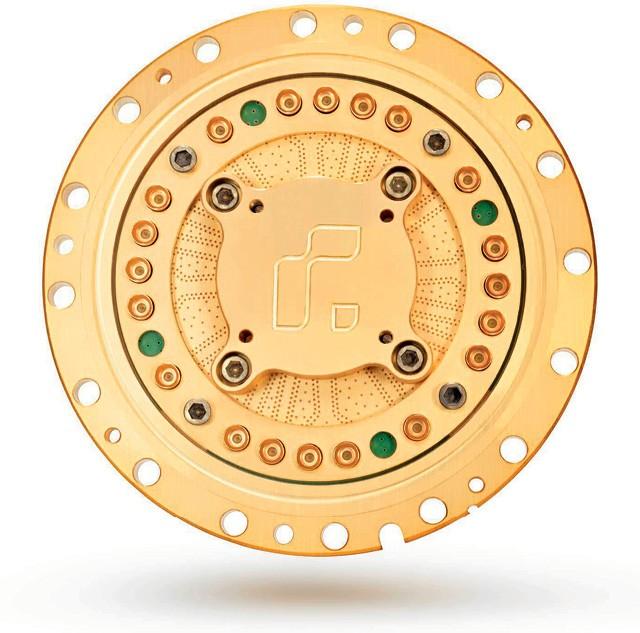 O chip quântico da empresa americana Rigetti tem design circular, diferente do padrão no mercado (Foto: Divulgação)